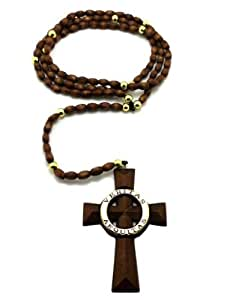 "Veritas Aequitas Saints Cross Rosary w/5mm 39"" Wooden Beads Rosary Necklace XJ199BRG Brown Gold"