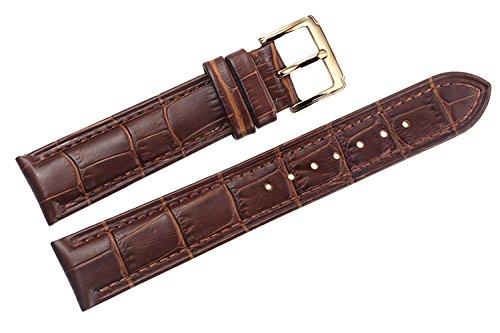 18mm braun Luxus italienischen Lederarmbändern / Bands Ersatz mit Schnalle Goldstift für High-End-Uhren (Leder-kies-schnalle Gürtel)