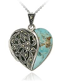 Sterling Silver Turquoise and Marcasite Heart Picture Locket Necklace
