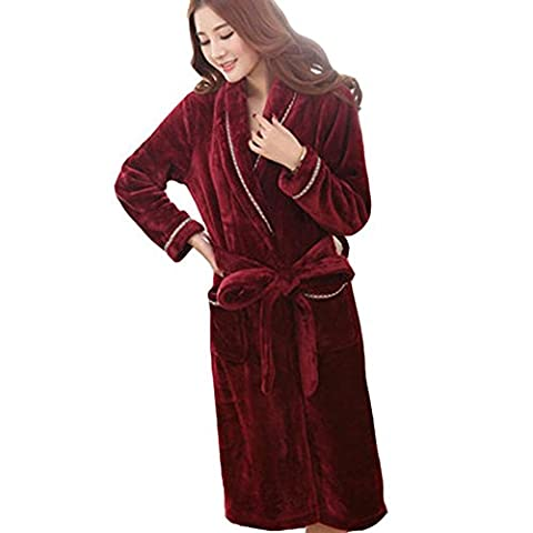 Hzcx Fashion Women's Thicken Flannel Striped String Bathrobe Sleepwear 2016100403-60-WI-UK M TAG L