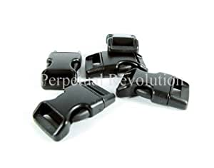 20 boucles attache rapide en plastique noires, pour sangle 10mm ou les bracelets de survie en paracorde