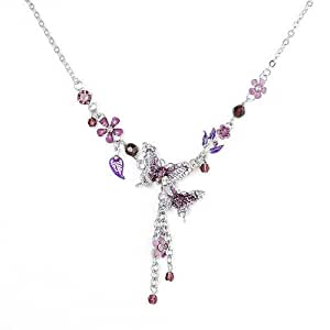 Glamorousky Purple Butterfly and Flower Necklace with Purple Austrian Element Crystals (1021)