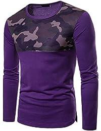 BUSIM Men's Long Sleeved Shirt Casual Mesh Stitching Raglan Sleeves Pleated Mesh Slim Fashion T-Shirt Diagonal... - B07GFJMT1T