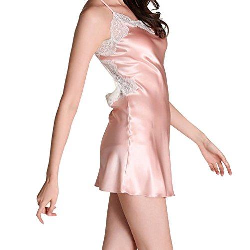 URqueen Women's Silky Backless Cross Lace Lingerie Sleepwear Dress pink