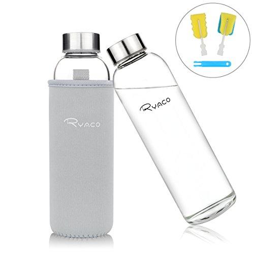Ryaco Glasflasche Trinkflasche Classic 550ml BPA-frei Glasflasche für Unterwegs Sport Flasche Glas Flasche Water Bottle Wasserflasche Trinkflasche aus Glas zum Mitnehmen heiß kalt Getränke Perfekt für Yoga, Wandern, Büro (Hellgrau) Ab Glas