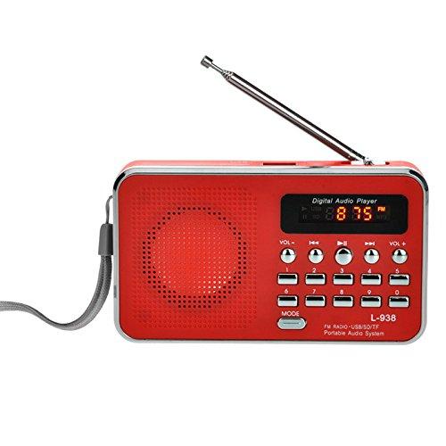 iMinker Mini-Digital-beweglicher FM Radio tragbares Lautsprecher MP3-Musik-Spieler TF/SD Karte USB-Scheiben-Hafen für PC iPod-Telefon mit LED-Anzeige und Akku (Rot)