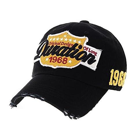 WITHMOONS Casquette de Baseball Vintage Baseball Cap Distressed Emboridery Trucker Hat KR1737 (Black)