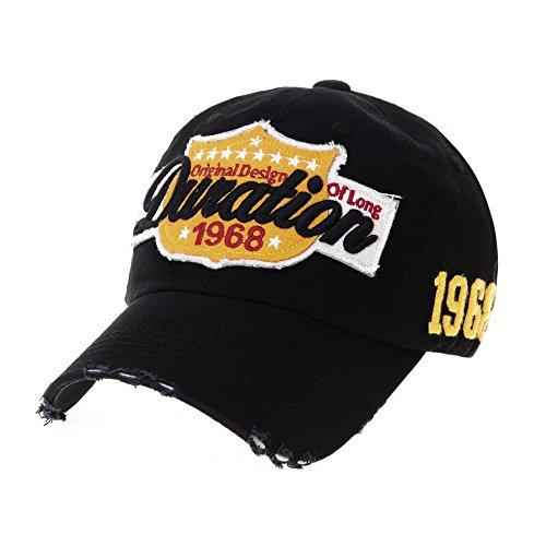 Vintage Cap (WITHMOONS Baseballmütze Mützen Caps Vintage Baseball Cap Distressed Emboridery Trucker Hat KR1737 (Black))