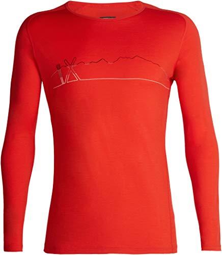 Icebreaker 200 Oasis Deluxe Single Line Ski Raglan LS Crew Shirt Men Chili Red Größe S 2018 Unterwäsche