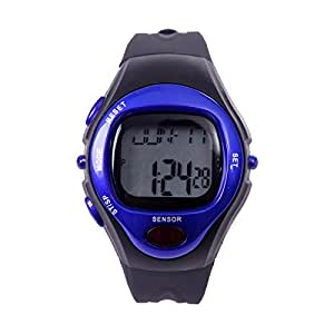 HDE Fitness Sports Pulse Watch with Heart Rate Monitor and Calorie Counter Weightloss Help (Blue)