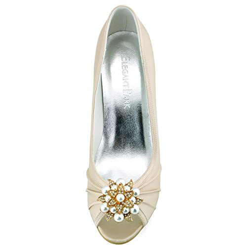 ElegantPark EP2094AE Donna Peep Toe AE01 Asportabile Clips Per Scarpe Tacco Alto Perle Fibbia Raso Scarpe Da Sposa Champagne