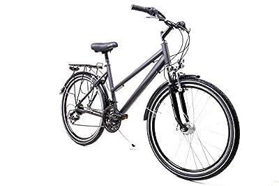26 Zoll Alu Damen Trekking Bike Fahrrad Shimano 21 Gang Nabendynamo schwarz grau