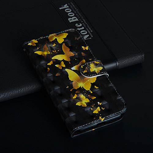 Für ZTE Max XL N9560 (Z986) Hülle, Geschäft Leder Wallet Schutzhülle Case Cover für ZTE Max XL N9560 (Z986) [Gold Butterfly]