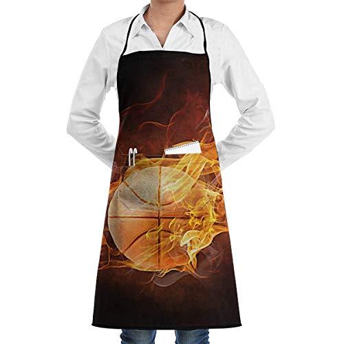 Drempad Schürzen Basketball Fire Adjusatble Women Kitchen Apron with Pockets and Extra Long Ties, Apron for Cooking, Baking, Gardening, Crafting, - Retro Basketball Kostüm