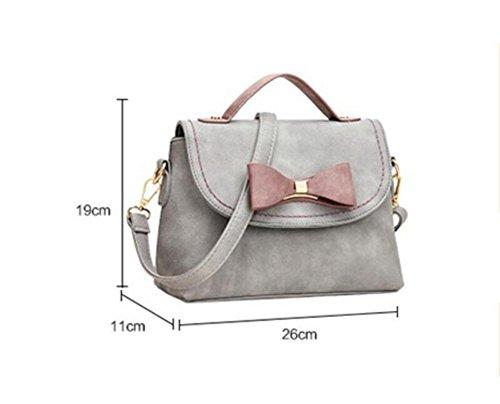 LDMB Damen-handtaschen Leichter PU-lederner Schulter-Kurier-Beutel-Bogen verziertes Handtaschen-Multifunktionsklassische justierbare Handtasche light gray