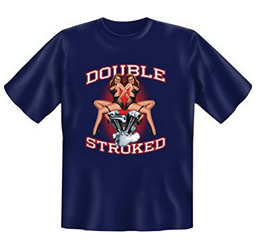 Biker & Motorrad T-Shirt geil bedruckt / Double Stroked ! Navy-Blau