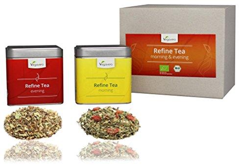 Vegavero refine tè – morning & evening –   trattamento di 14 giorni   a base di 19 diverse erbe   pratica confezione salva - aroma   2 x 50 g