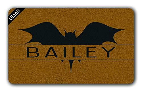 (Moiq-A Bat Personalized Doormat Bat Doormat Halloween Doormat Welcome Doormat Entrance Floor Mat Indoor/Outdoor Rubber Non Slip Doormat for Patio Front Door 23.6 x 15.7)
