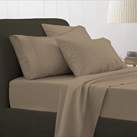 Adamlinens Luxury 100% Egyptian Cotton 200 Thread Count Housewife Pillow Cases, Stone, Pillow pair