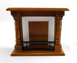 Dolls House Miniature Furniture 1:12 Scale Walnut Wooden Victorian Fireplace