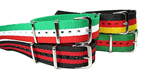 BRAND NEW Military Style Nylon Various Colour Replacement High Quality Watchstrap/Band 18 - 22mm - V728 (Green,White&Red,