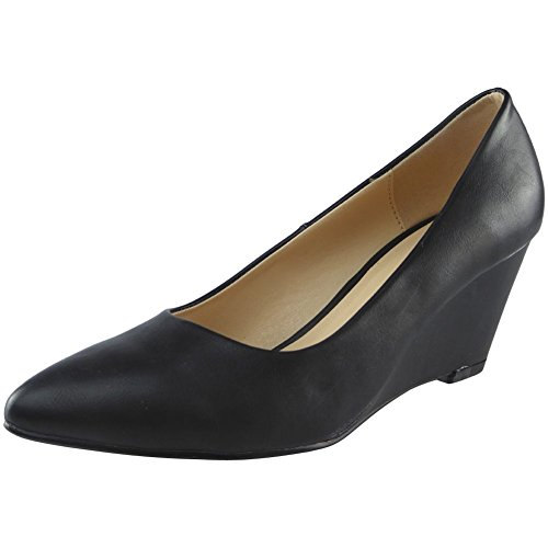 Womens Ladies Low Mid Heel Casual Office Work Pointed Toe Court Shoes Size 3-8 Black Pu