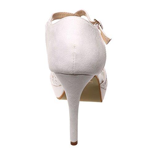 La Modeuse - Sandalesaspect daimà talon fin et plateforme Blanc