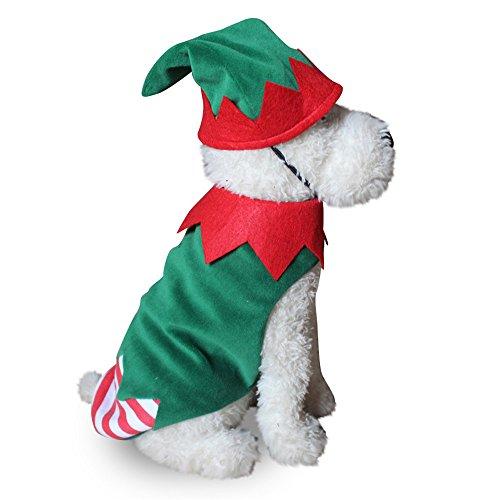 gloryhonor Unisex Weihnachtself Clown Hund Kostüm gewelltem Streifen -