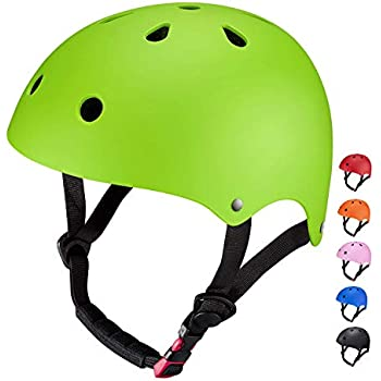 Casco Infantil Bicicleta SKL Casco Transpirable Bici 48-52cm Monopatín Patinete (Verde)
