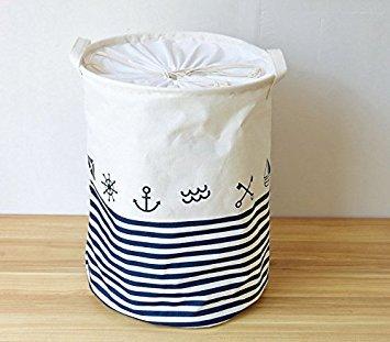 Honeysuck gestreift Schiff Anker rund Wäschekorb Aufbewahrungstasche Barrels klappbar