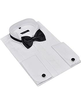 Camicia Smoking Uomo Elegante Bottoni Papillon Misure Diverse Nero/Bianco