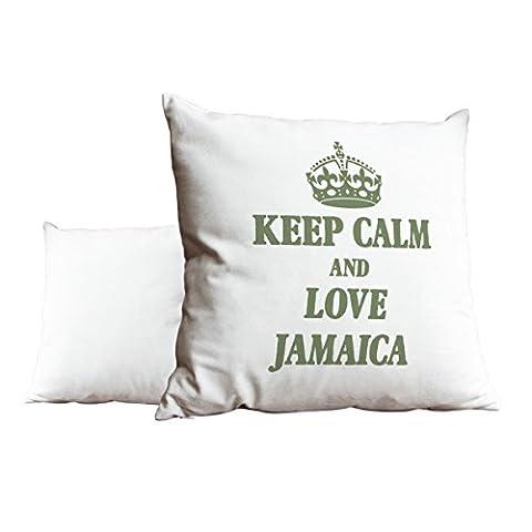 Sage Vert Keep Calm and Love Jamaica Blanc Scatter Taie d'oreiller 1971