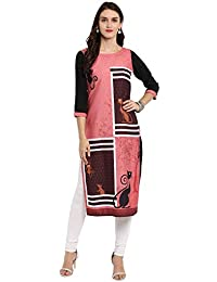 Ziyaa Women's Multi Color Straight Digital Print Kurta (ZIKUCR2306)