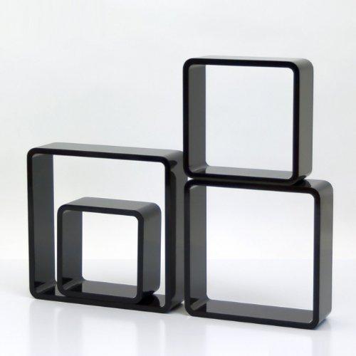 Étagères cube murale de 4 piéces Noir -PEGANE-