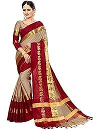 Vivan Trendz Cotton Silk Saree With Blouse Piece (White Maroon_Free Size)