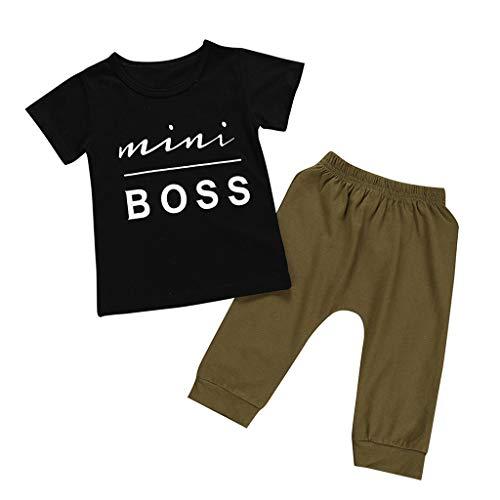 Tyoby kinderkleidung Einfach und lässig Brief drucken Top + Einfarbige Hose Mode Zweiteiliger Anzug(Schwarz,120)