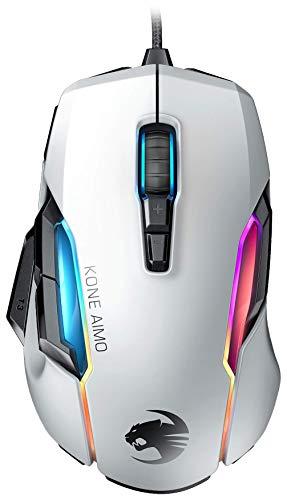 Roccat Kone AIMO Gaming Maus (hohe Präzision, Optischer Owl-Eye Sensor (100 bis 16.000 Dpi), RGB AIMO LED Beleuchtung, 23 programmierbare Tasten, Designt in Deutschland, USB) weiß(remastered)