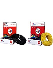 DMT™ KC-Cab FR PVC Insulated 1.0 SQ/MM Single Core Flexible Copper Electric Wire |90 Meter Coil |(Total -180 Meter) | (Black and Yellow, Pack of-2)