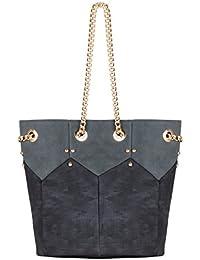 KRISP® Femmes Sac Shopping Bi-matière Lanières Dorées