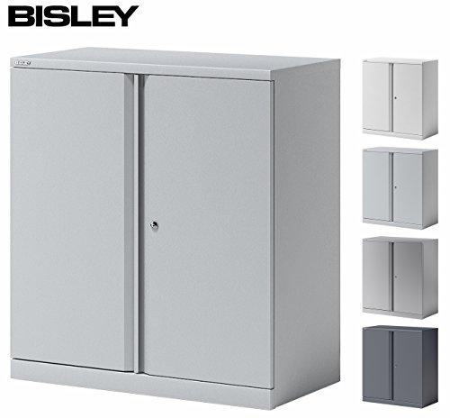 BISLEY Aktenschrank | Büroschrank | Flügeltürenschrank aus Metall abschließbar inkl. Fachboden | Stahlschrank in Lichtgrau