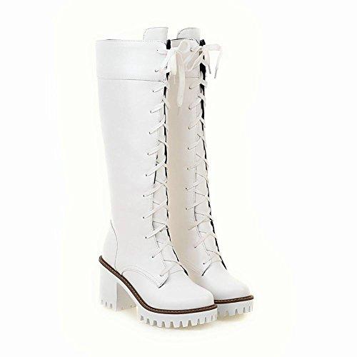 Mee Shoes Damen Schnürsenkel Langschaft Plateau chunky heels Stiefel Weiß