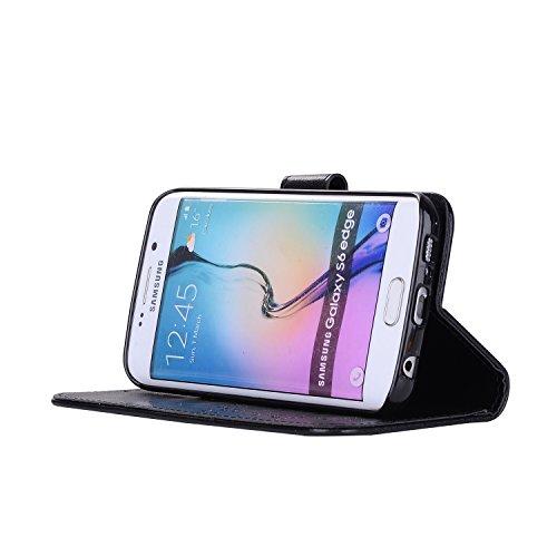 Custodia Galaxy S6 Edge, ISAKEN Cover per Samsung Galaxy S6 Edge, Galaxy S6 Edge Flip Cover con Strap, Elegante 2 in 1 Custodia in Sintetica Ecopelle Sbalzato PU Pelle Protettiva Portafoglio Case Cove Ragazza: nero