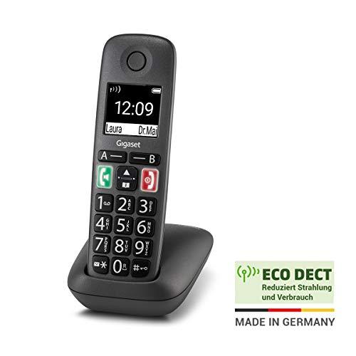 Gigaset Easy - Schnurloses Senioren-Telefon mit großen Tasten und extra lauter Klingelfunktion - hörgerätekompatibel, anthrazit-grau