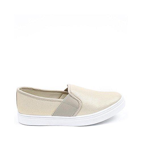 Ideal Shoes, Mocassini donna Oro