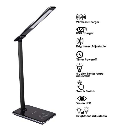 Schreibtischlampe LED Büro Tischleuchte 4 Farb- und 6 Helligkeitsstufen dimmbar Touchbedienung mit USB Ladeanschluss, Qi kabelloses Ladegerät & Timer Poweroff
