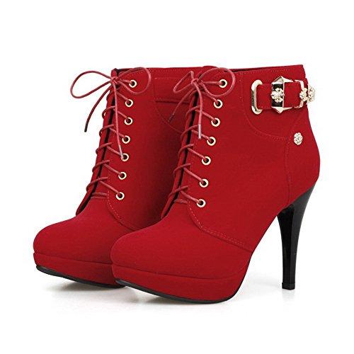 AgooLar Damen Schnüren Rund Zehe Hoher Absatz Blend-Materialien Niedrig-Spitze Stiefel Rot