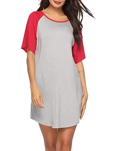Weiche Damen-nachthemd (Sykooria Nachthemd Damen Kurzarm Baumwolle Sommer Nachtwäsche Nachtkleid Kontrastfarbe Rundhalsausschnitt Sleepshirt, Weiches und Bequemes Material, Frauen)