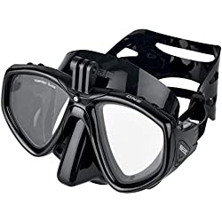 Seac One Pro Masque de Plongée avec Support pour Caméra GoPro pour la Plongée Sous-marine et le Snorkeling avec Tuba, Noir, Standard