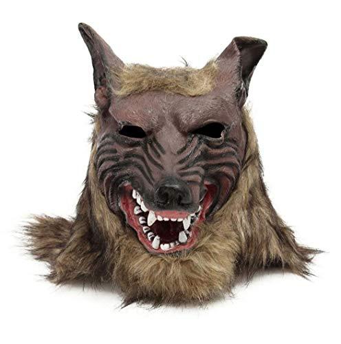 DreamyDesign Unisex Tod Kostüm Halloween Karneval Verkleidung Maske Wolf mit Zahn Wolfmaske