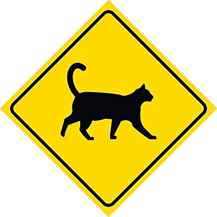 DOGT Metal Square Sign 12x12 inches Aluminum Yellow Caution Cat Crossing Signs Metal Square Sign, 12x12 inch -